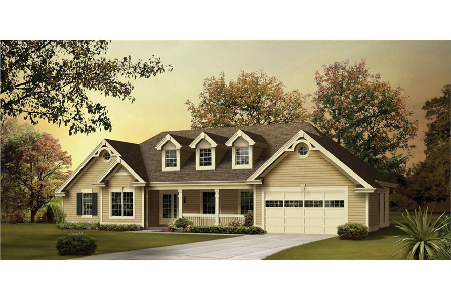 Front elevation of Traditional home (ThePlanCollection: House Plan #138-1244)