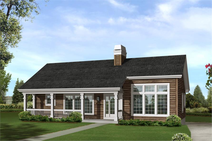Color rendering of Country home (ThePlanCollection: House Plan #138-1246)