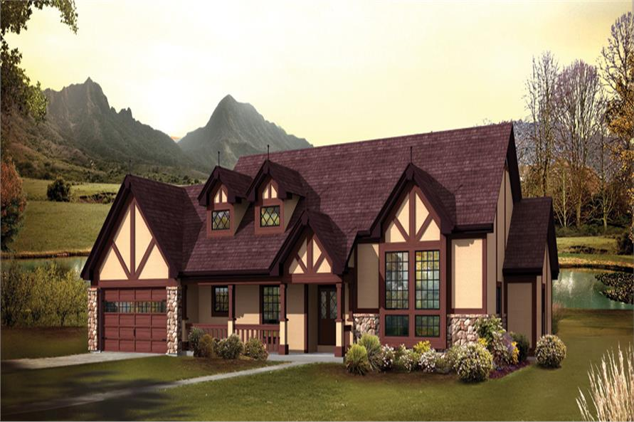 Front elevation of Tudor home (ThePlanCollection: House Plan #138-1247)