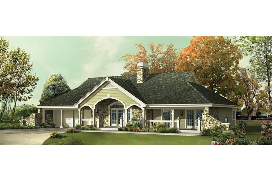 Front elevation of Ranch home (ThePlanCollection: House Plan #138-1248)