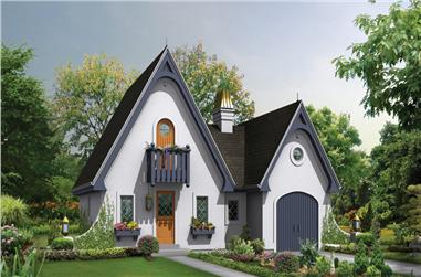 1-Bedroom, 1075 Sq Ft Cottage House Plan - 138-1249 - Front Exterior
