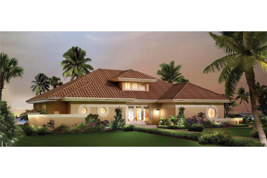 Front elevation of Florida Style home (ThePlanCollection: House Plan #138-1251)