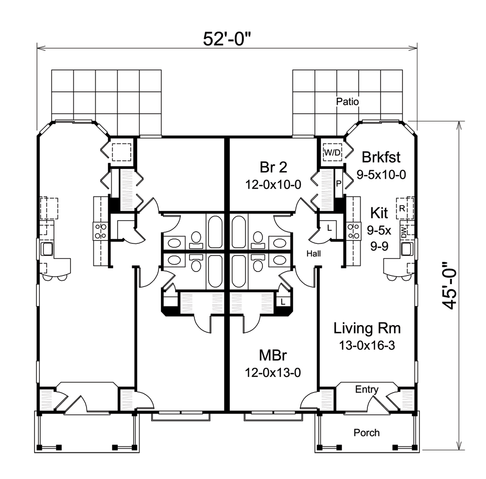 Multi unit house plan 138 1257 2 bedrm 1004 sq ft per for Multi unit home plans