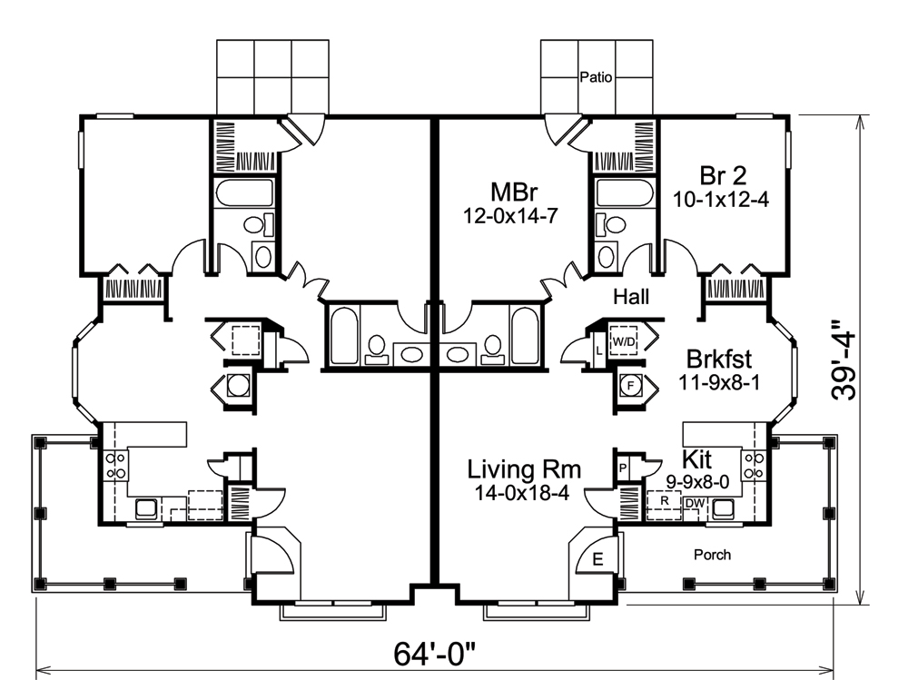 Multi unit house plan 138 1258 2 bedrm 2030 sq ft per for Multi unit house plans