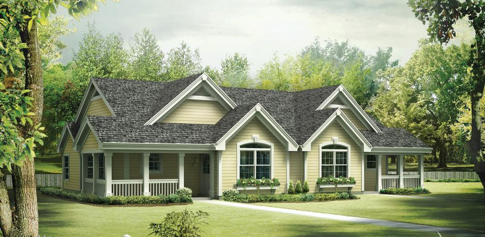 Front elevation of Multi-Unit home (ThePlanCollection: House Plan #138-1258)