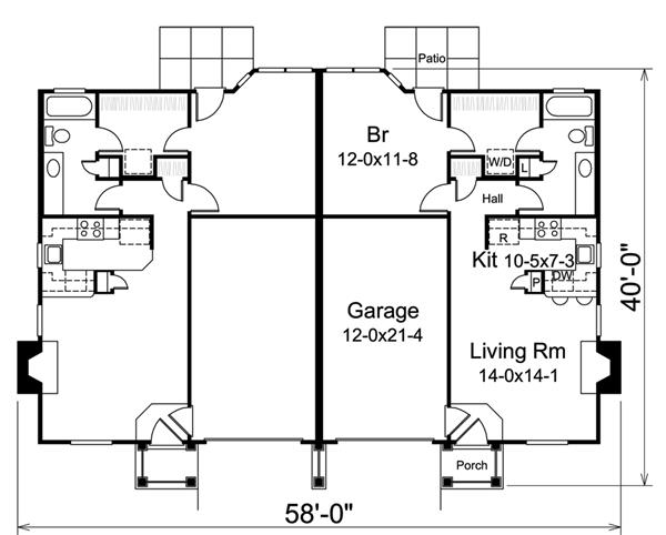 Multi unit house plan 138 1259 1 bedrm 1306 sq ft per for Multi unit house plans