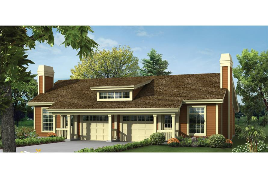 Front elevation of Multi-Unit home (ThePlanCollection: House Plan #138-1259)
