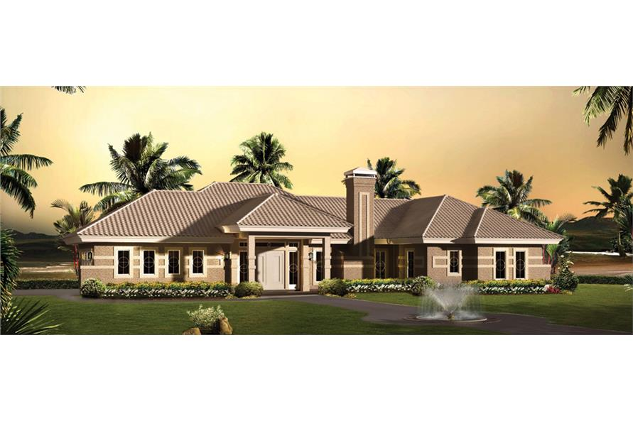 Front elevation of Ranch home (ThePlanCollection: House Plan #138-1262)