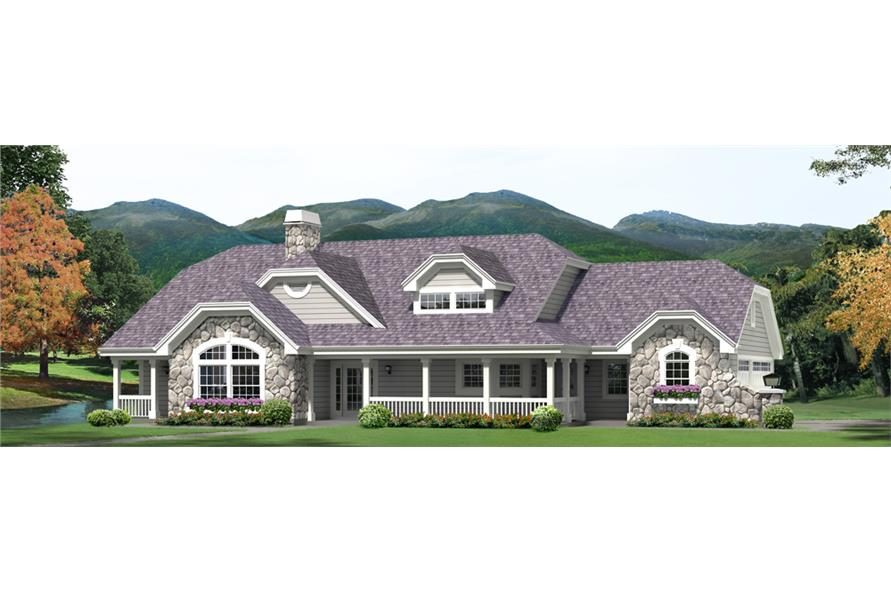 Front elevation of Country home (ThePlanCollection: House Plan #138-1264)