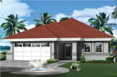 3-Bedroom, 1298 Sq Ft Florida Style House Plan - 138-1265 - Front Exterior