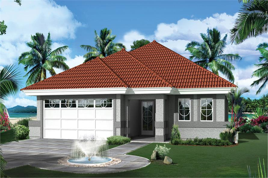 Front elevation of Florida Style home (ThePlanCollection: House Plan #138-1265)
