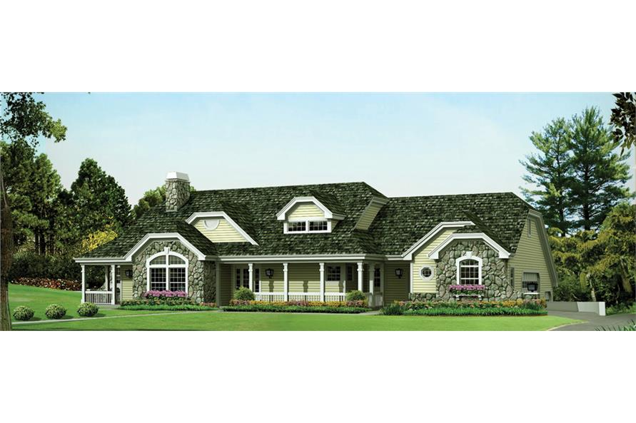 Front elevation of Country home (ThePlanCollection: House Plan #138-1266)