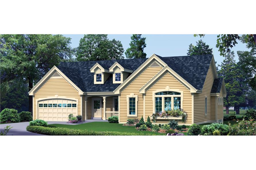 Front elevation of Ranch home (ThePlanCollection: House Plan #138-1272)