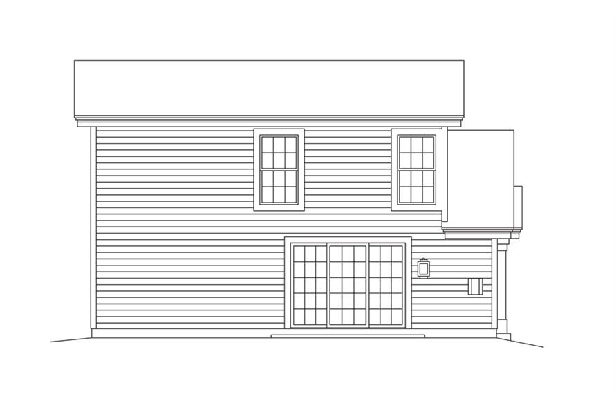 Home Plan Rear Elevation of this 1-Bedroom,1086 Sq Ft Plan -138-1274