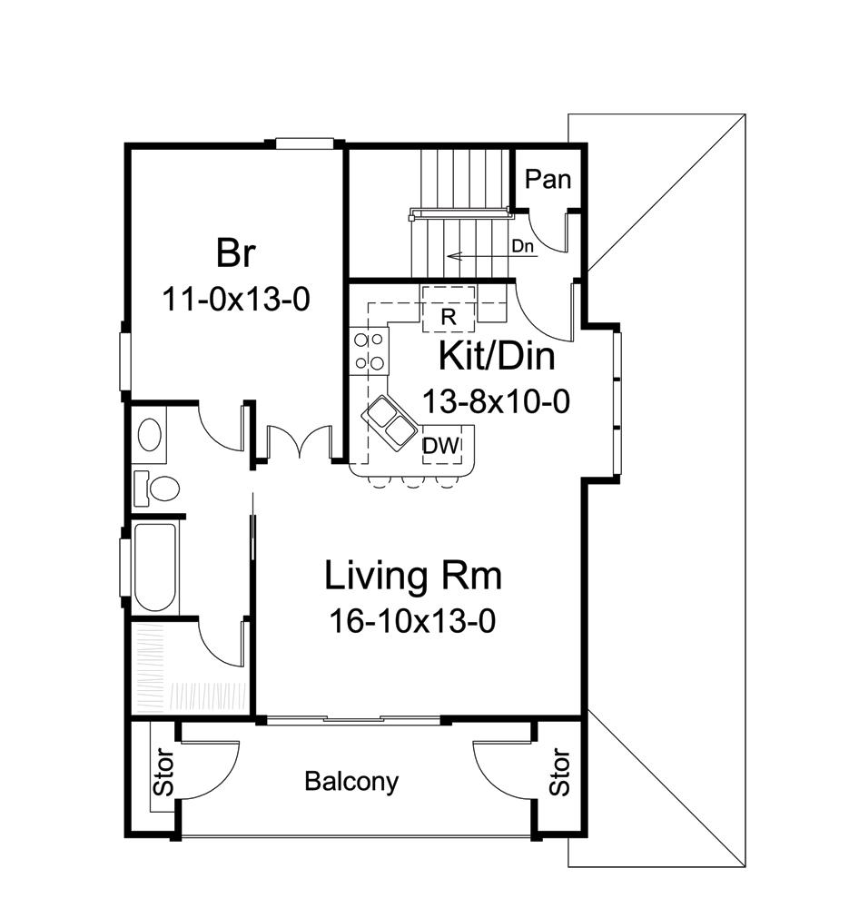 Plan W2225sl One Story Garage Apartment: Garage W/Apartments House Plan #138-1275: 1 Bedrm, 1091 Sq