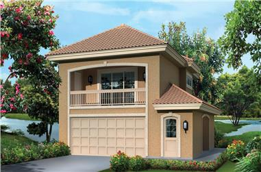 1-Bedroom, 1091 Sq Ft Garage w/Apartments House Plan - 138-1275 - Front Exterior
