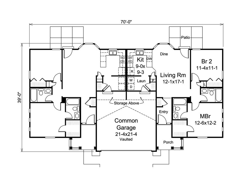 Multi unit house plan 138 1276 2 units 2 bedrm 809 sq for Multi unit home plans