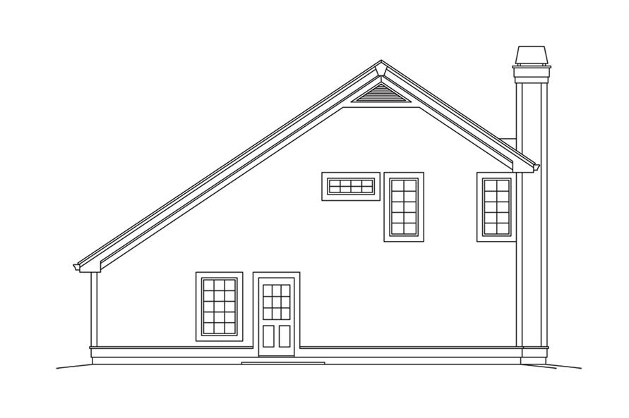 Home Plan Rear Elevation of this 1-Bedroom,1028 Sq Ft Plan -138-1278