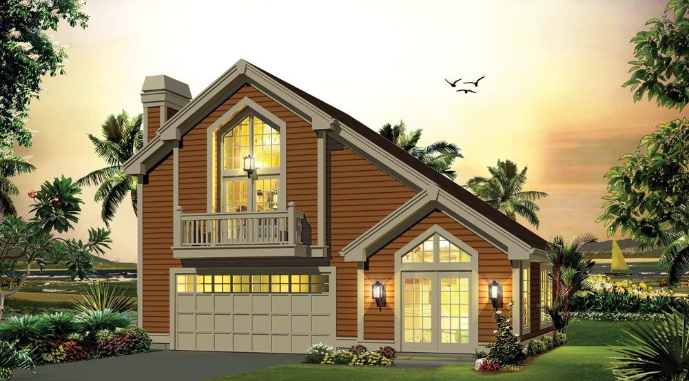 Front elevation of Garage w/Apartments home (ThePlanCollection: House Plan #138-1278)