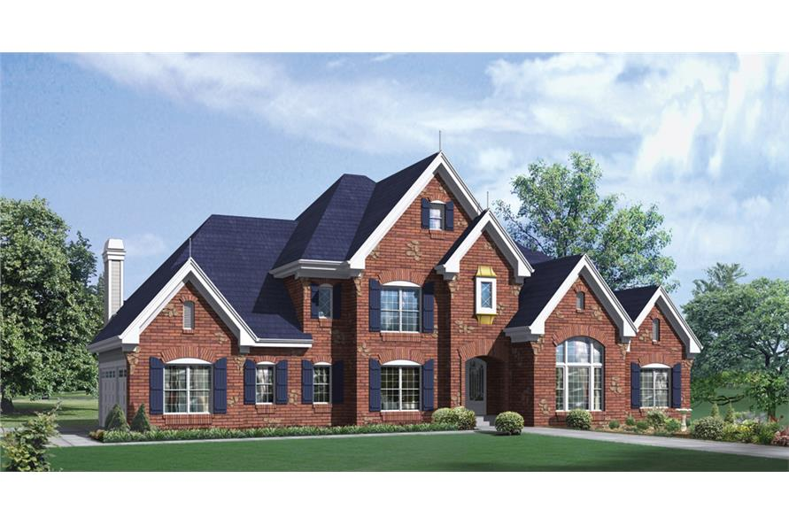 Front elevation of European home (ThePlanCollection: House Plan #138-1283)