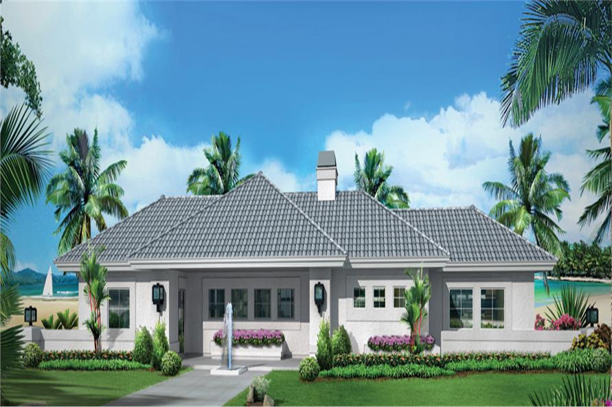 Front elevation of Ranch home (ThePlanCollection: House Plan #138-1284)