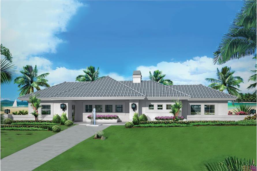 Color rendering of Ranch home plan (ThePlanCollection: House Plan #138-1284)