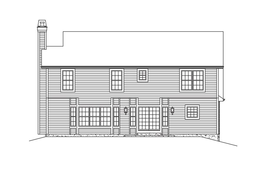 138-1285: Home Plan Rear Elevation