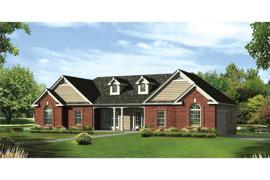 Front elevation of Traditional home (ThePlanCollection: House Plan #138-1286)