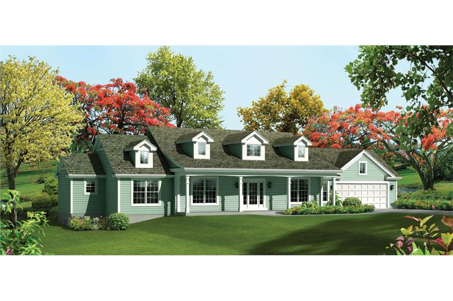 Front elevation of Ranch home (ThePlanCollection: House Plan #138-1287)
