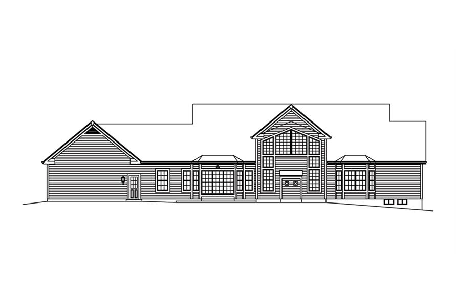 138-1288: Home Plan Rear Elevation