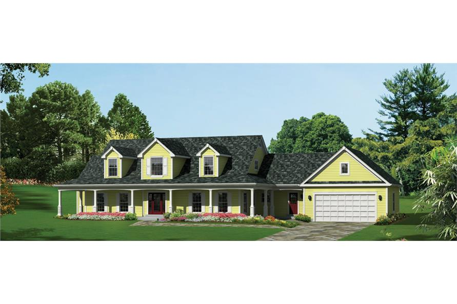Front elevation of Ranch home (ThePlanCollection: House Plan #138-1288)