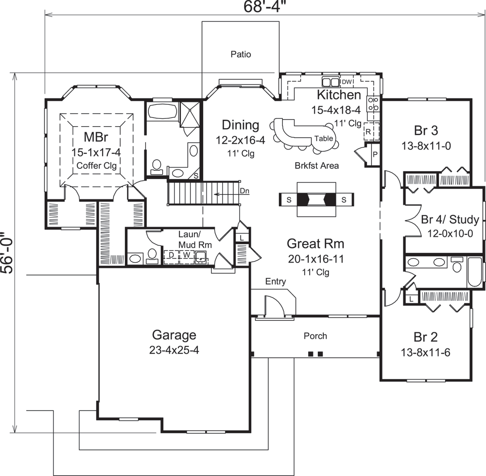 Country House Plan #138-1290: 4 Bedrm, 2241 Sq Ft Home