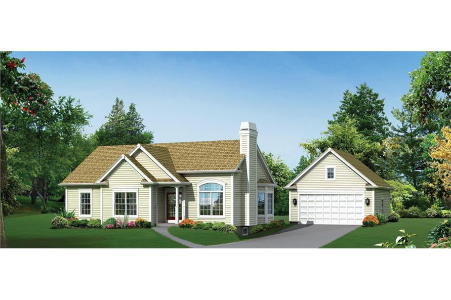 Front elevation of Country home (ThePlanCollection: House Plan #138-1291)