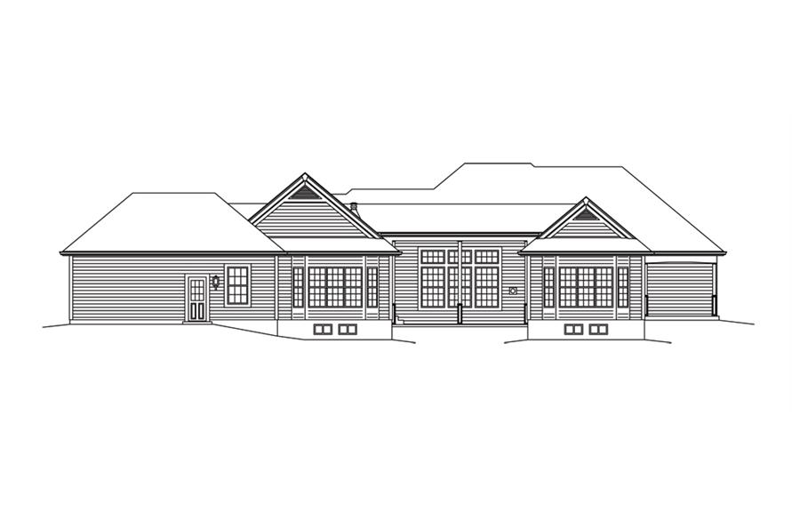 138-1292: Home Plan Rear Elevation