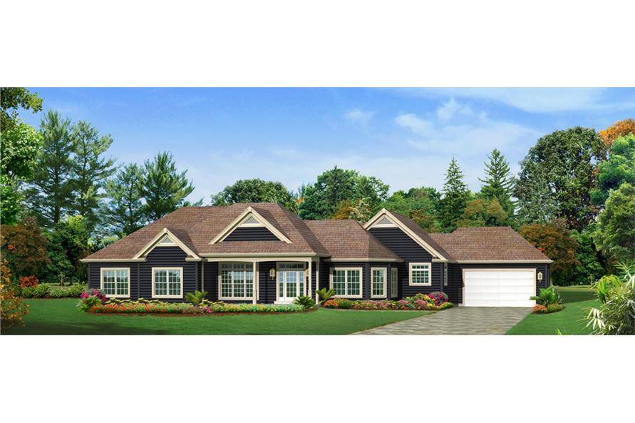 Front elevation of Ranch home (ThePlanCollection: House Plan #138-1292)