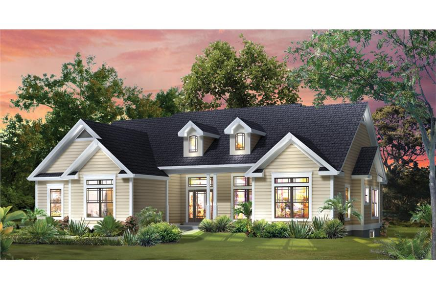 Front elevation of Traditional home (ThePlanCollection: House Plan #138-1295)