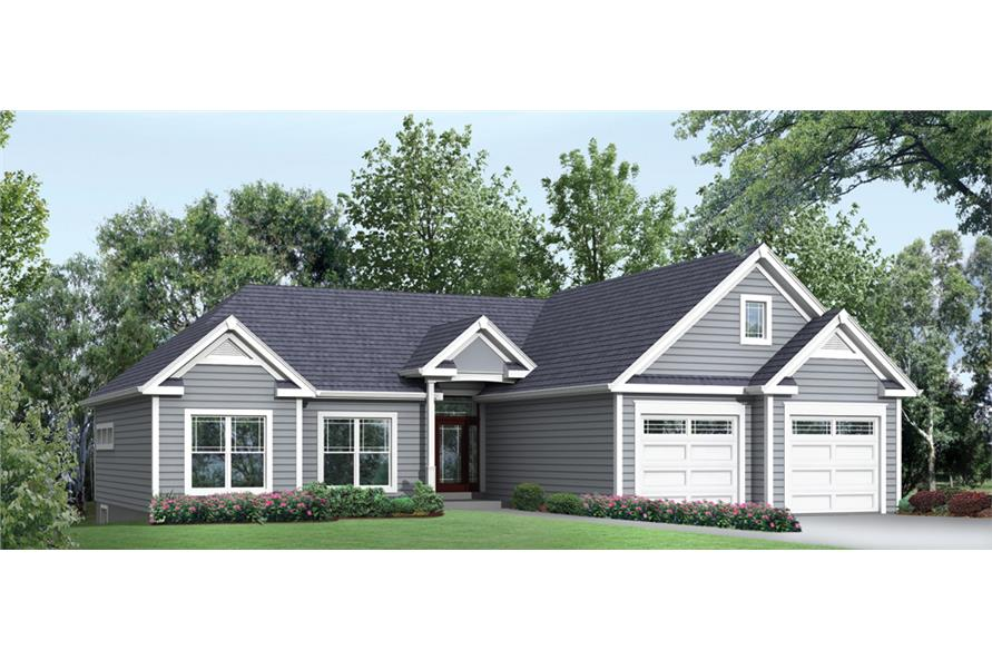 Front elevation of Ranch home (ThePlanCollection: House Plan #138-1297)