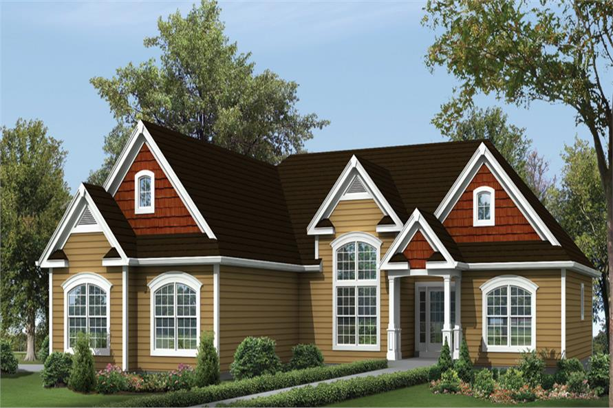 Front elevation of Ranch home (ThePlanCollection: House Plan #138-1299)
