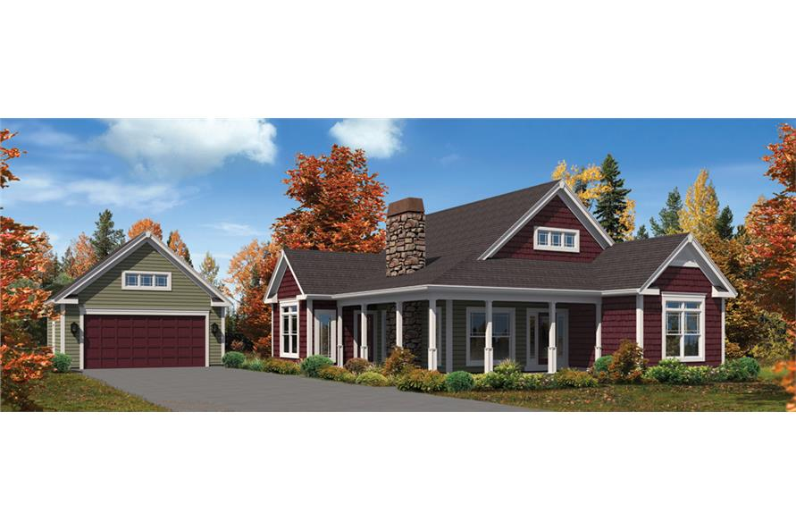 Front elevation of Cottage home (ThePlanCollection: House Plan #138-1300)