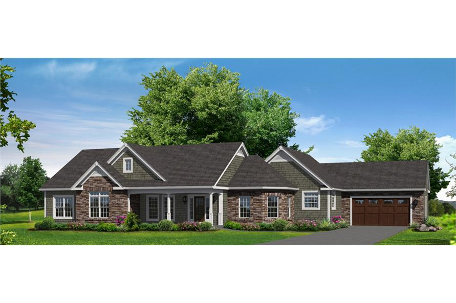 Front elevation of Ranch home (ThePlanCollection: House Plan #138-1302)