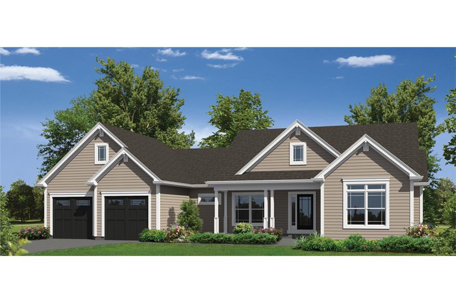 Front elevation of Ranch home (ThePlanCollection: House Plan #138-1304)