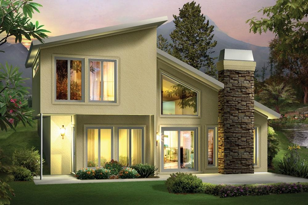 Contemporary style home (ThePlanCollection: House Plan #138-1306)