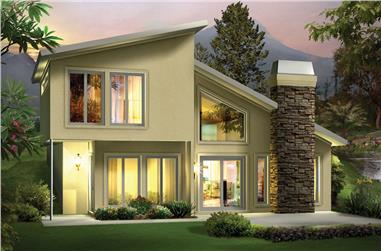 2-Bedroom, 1105 Sq Ft Modern House Plan - 138-1306 - Front Exterior