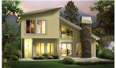 Front elevation of Modern home (ThePlanCollection: House Plan #138-1306)