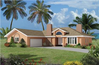 3-Bedroom, 1932 Sq Ft Florida Style House Plan - 138-1323 - Front Exterior