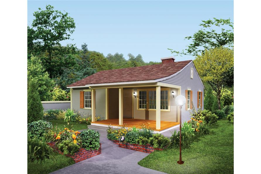 2-Bedroom, 733 Sq Ft Country Home Plan - 138-1331 - Main Exterior