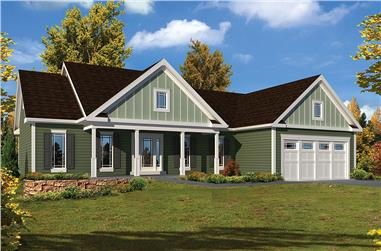 3-Bedroom, 1994 Sq Ft Country House Plan - 138-1338 - Front Exterior