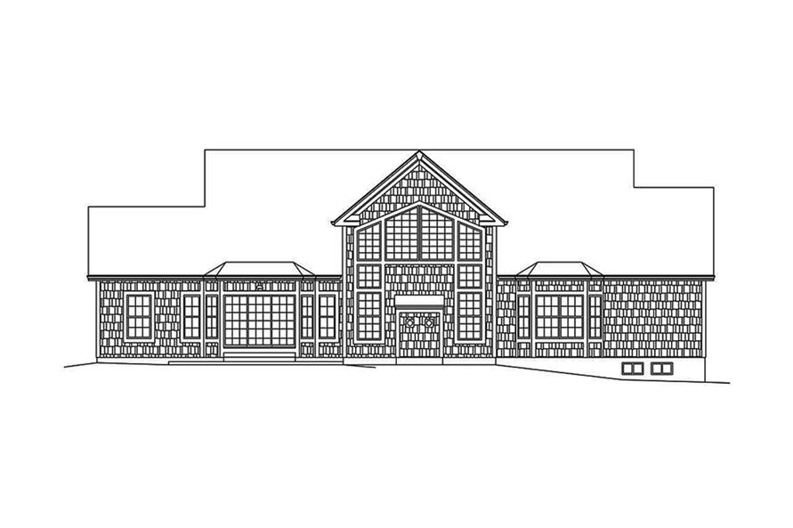 Home Plan Rear Elevation of this 4-Bedroom,3782 Sq Ft Plan -138-1340