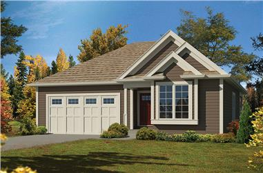 2-Bedroom, 1366 Sq Ft Country Home Plan - 138-1343 - Main Exterior