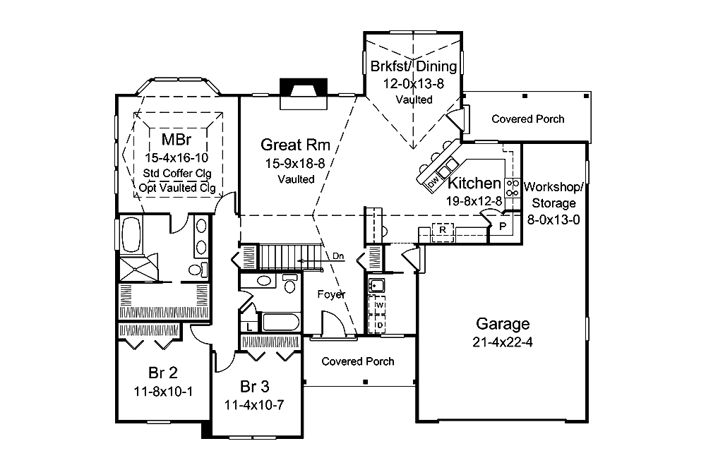 3 Bedrm, 1820 Sq Ft Country House Plan #138-1350